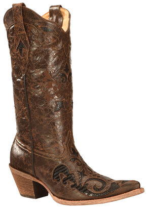 Corral Lizard Inlay Cowgirl Boots, Brown, hi-res