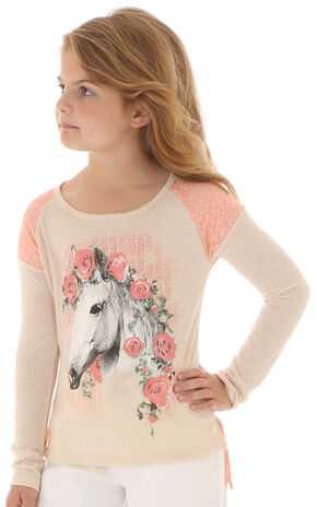 Wrangler Girls' Floral & Lace Horse Long Sleeve Shirt, Ivory, hi-res