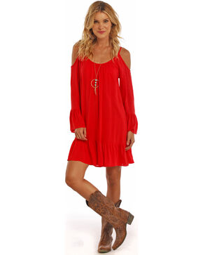 Panhandle Slim Women's Coral Cold Shoulder Peasant Dress, Coral, hi-res