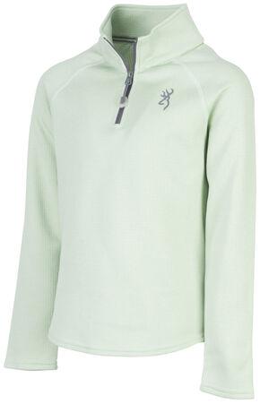 Browning Girls' Green Zinnia Quarter Zip Pullover , Green, hi-res