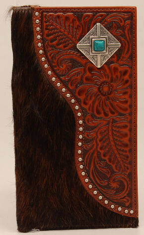 Nocona Rodeo Hair-on-Hide Floral Turquoise and Silver Concho Wallet, Brown, hi-res
