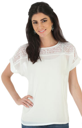 Wrangler Rock 47 Women's Embroidered Front Yoke Top, Cream, hi-res