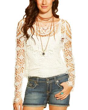 Ariat Women's Isle Cropped Sweater, White, hi-res