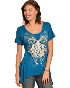Liberty Wear Women's Fleur-de-Lis Mini Sharktail Shirt, Teal, hi-res
