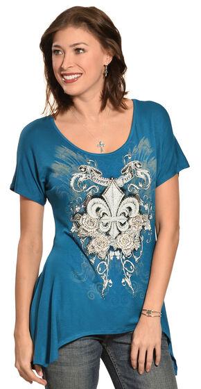 Liberty Wear Women's Fleur-de-Lis Mini Sharktail Shirt - Plus Size, Teal, hi-res