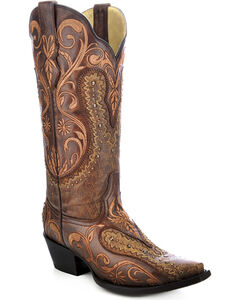 Corral Women's Floral Embroidered Overlay Cowgirl Boots - Snip Toe, , hi-res