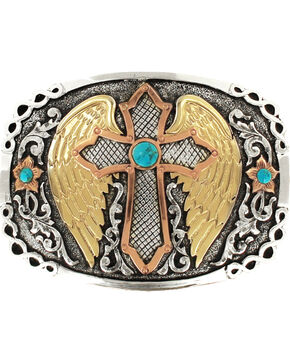 Crumrine Women's Winged Cross Belt Buckle , Multi, hi-res