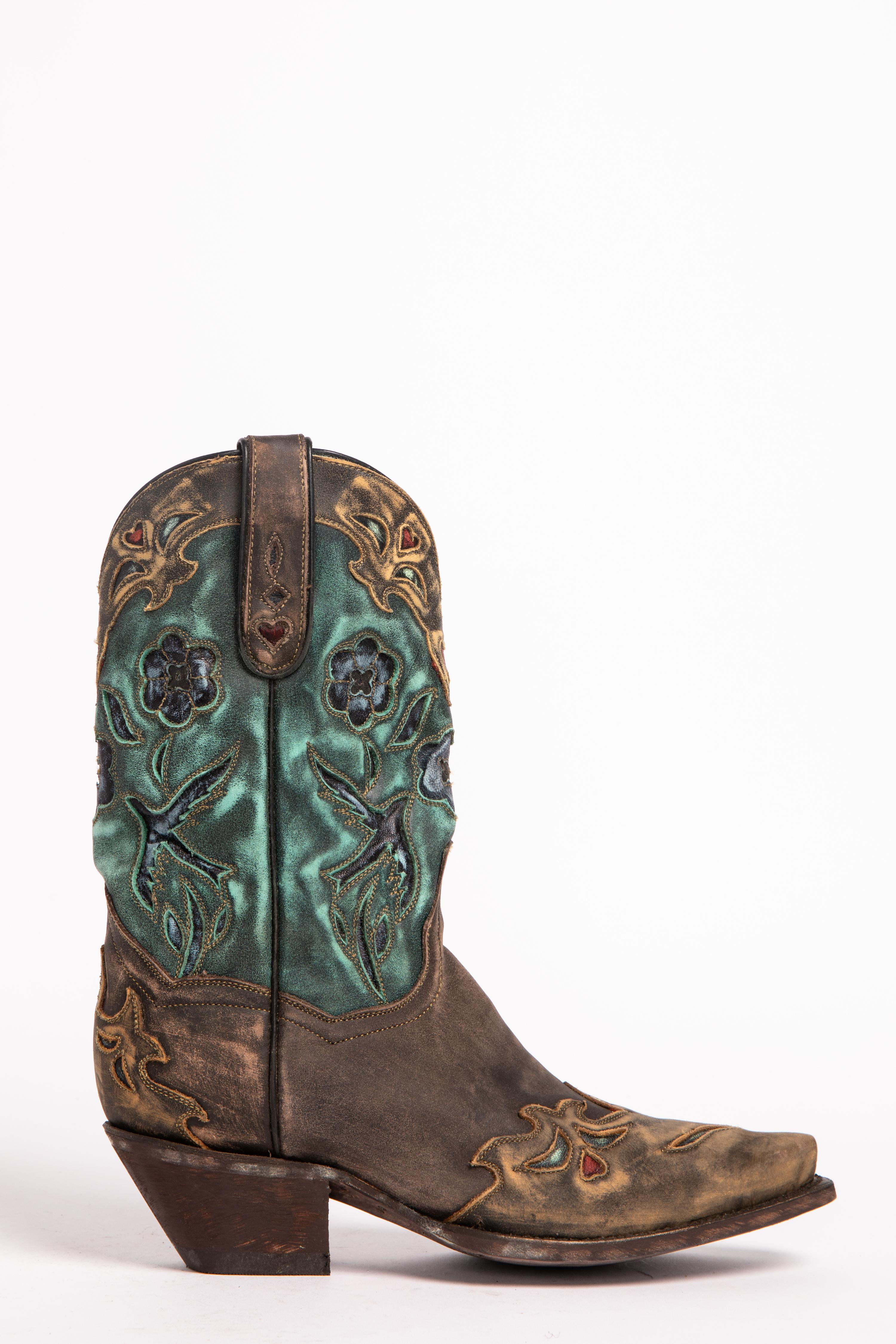 Dan Post Blue Bird Wingtip Cowgirl Boots Snip Toe Sheplers