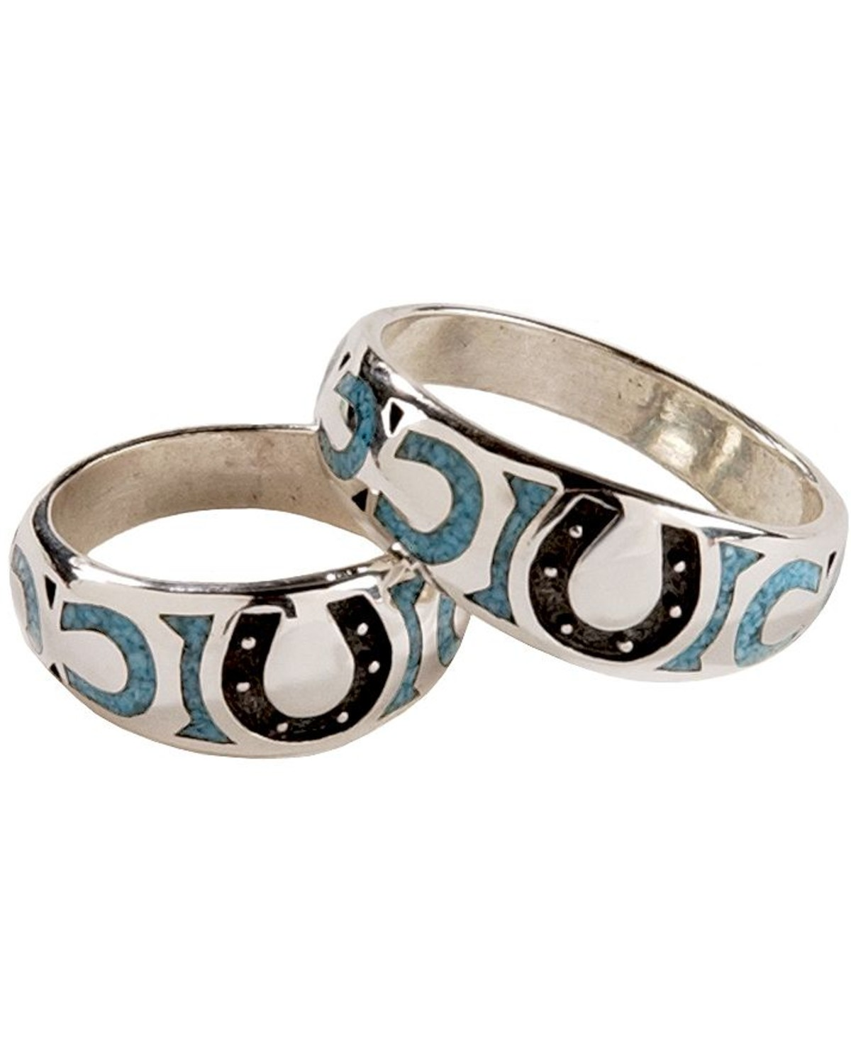 western wedding bands Silver Legends Turquoise Horseshoe Western Wedding Band Turquoise hi res