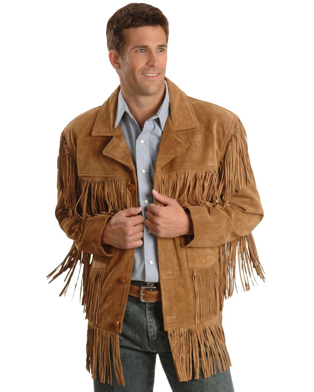 Leather jacket with fringe - Liberty Wear Fringe Suede Leather Jacket Tobacco Hi Res