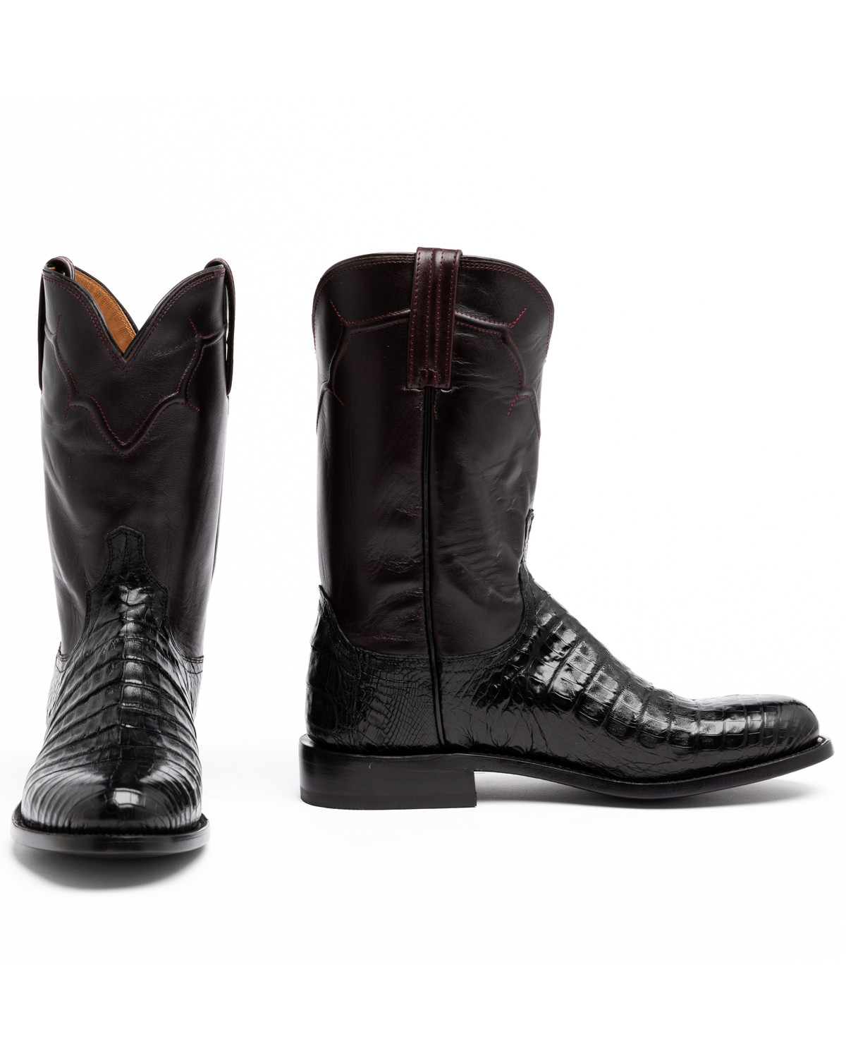 Bathroom scales boots - Lucchese Dustin Belly Caiman Roper Boots Round Toe Black Hi Res