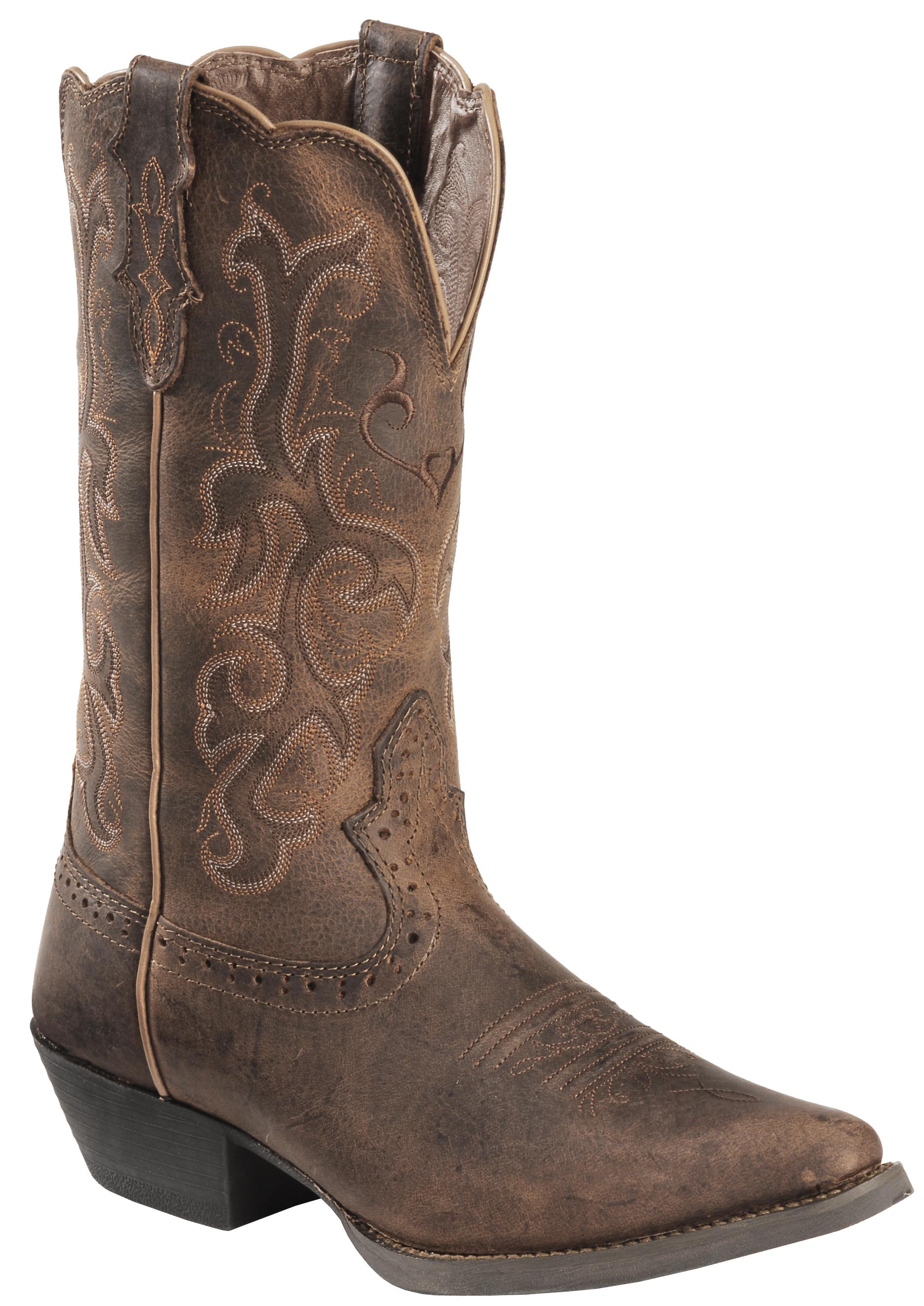 Justin Distressed Puma Cowhide Stampede Cowgirl Boots Snip Toe Sheplers
