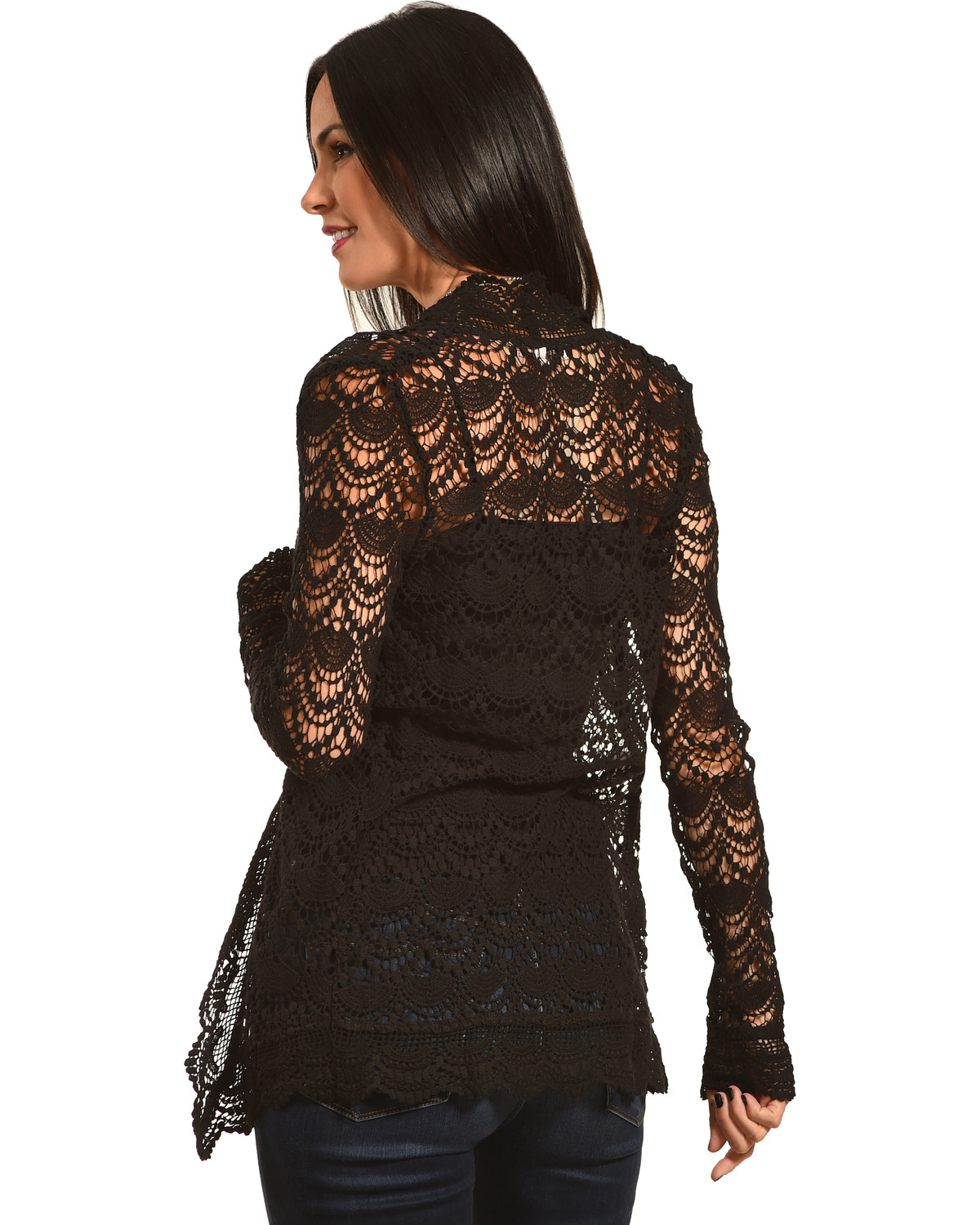 Long Lace Cardigan - Young essence women s long sleeve lace cardigan black hi res