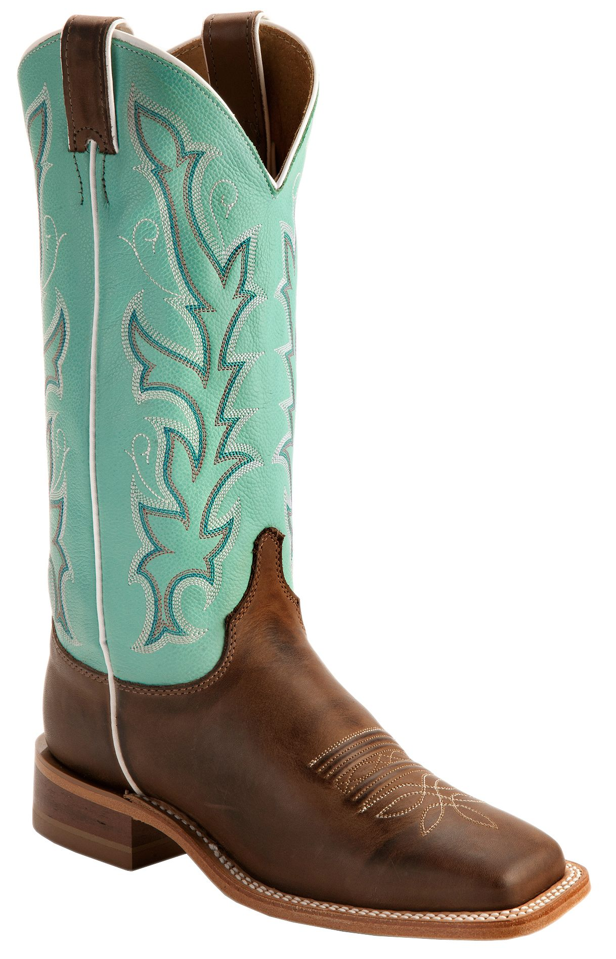 Justin Teal Bent Rail Cowgirl Boots Square Toe Sheplers