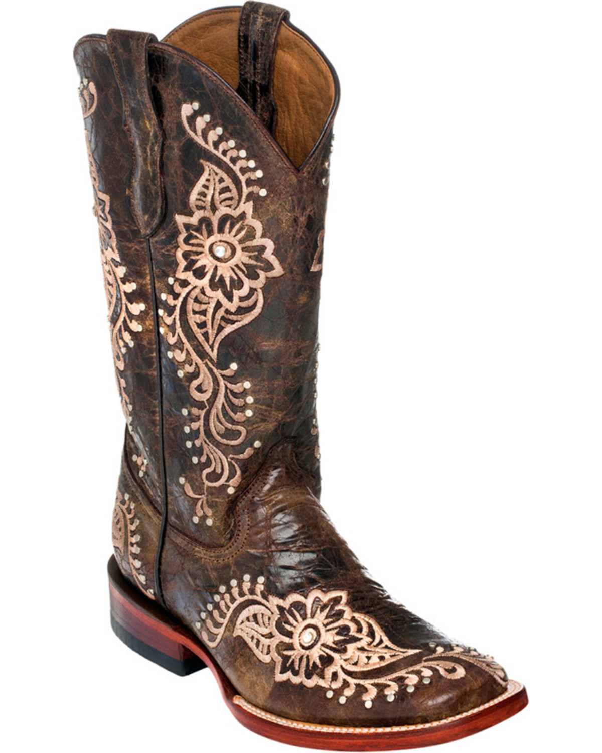 Bathroom scales boots - Ferrini Chocolate Wild Flower Cowgirl Boots Square Toe Chocolate Hi Res
