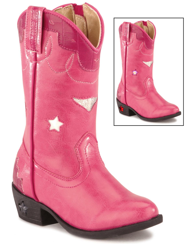 Smoky Mountain Toddler Girls Stars Light Up Pink Boots