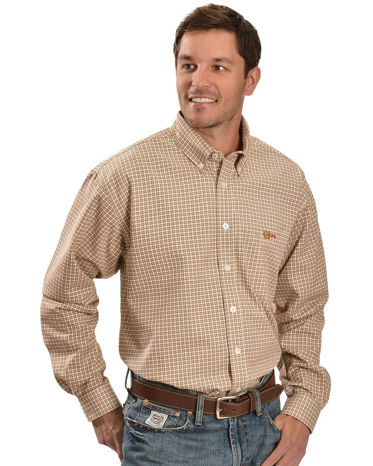 Cinch flame resistant brown plaid work shirt sheplers for Cinch flame resistant shirts