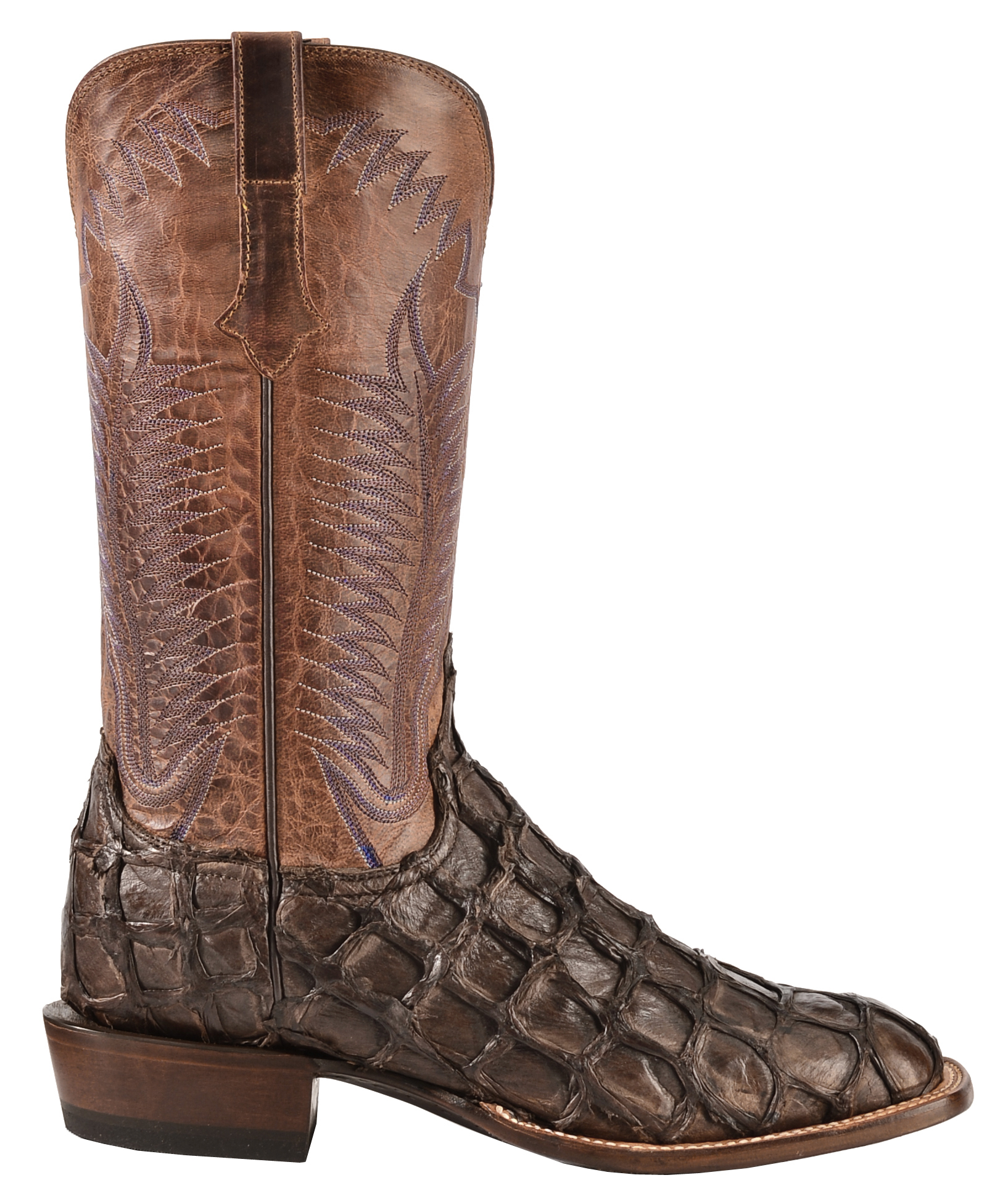 Lucchese chocolate brown brooks pirarucu cowboy boots for Pirarucu fish boots