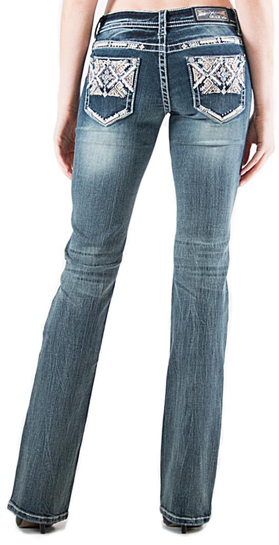 Grace in LA Light Wash Aztec Pocket Bootcut Jeans | Sheplers