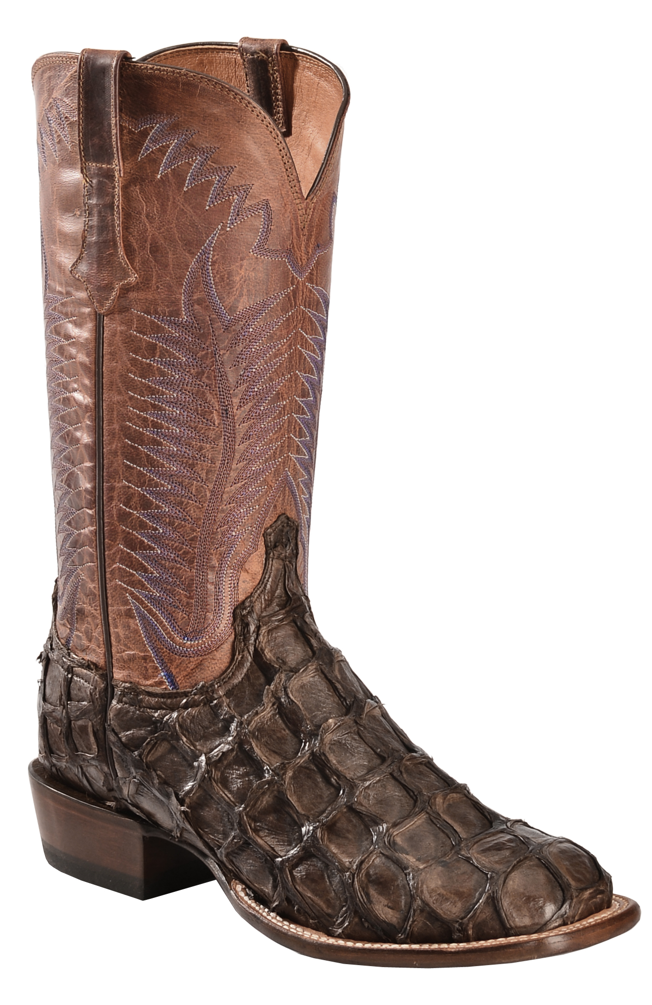 Lucchese Mens Antique Italian Red Giant Gator Boots