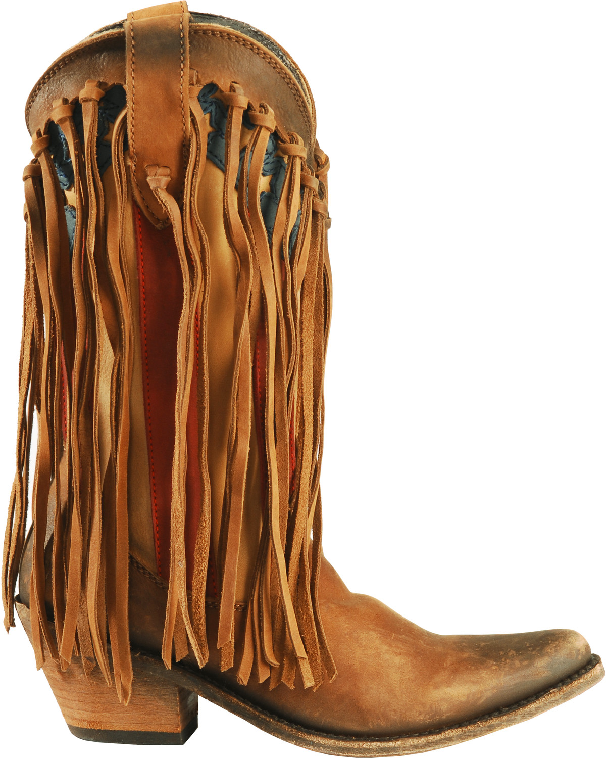 Liberty Black Brown American Flag Fringe Cowgirl Boots - Pointed ...