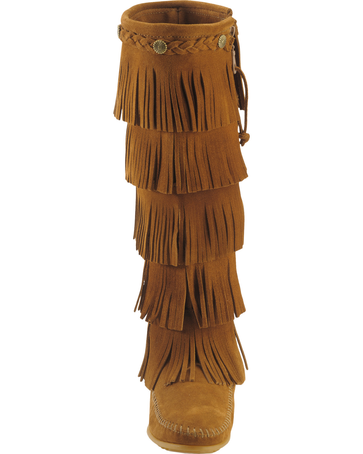 Minnetonka suede leather knee high tall lace up moccasin fringe boots - Minnetonka Fringed Suede Leather Boots Brown Hi Res
