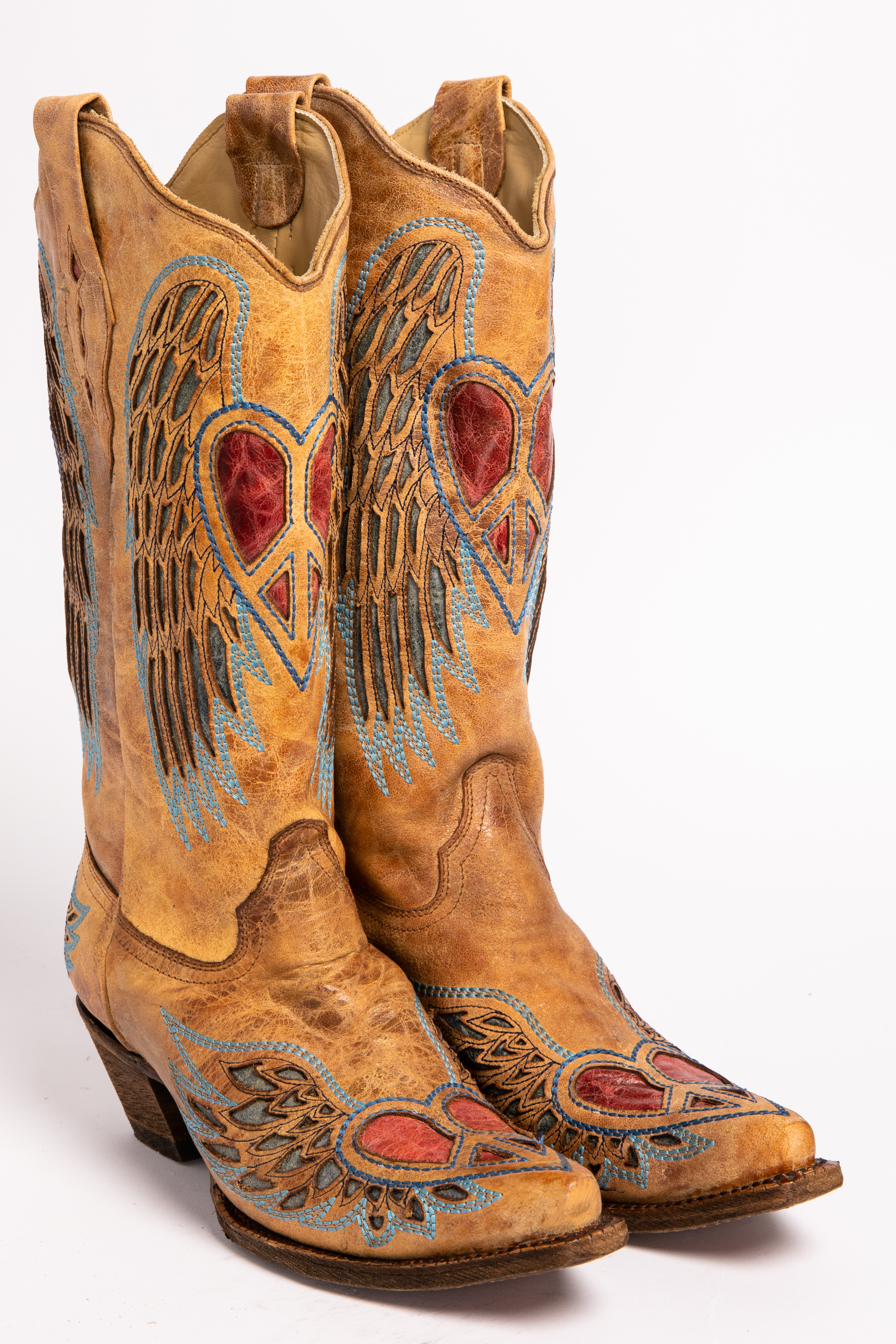 Corral Heart Angel Wing Cowgirl Boots Snip Toe Sheplers