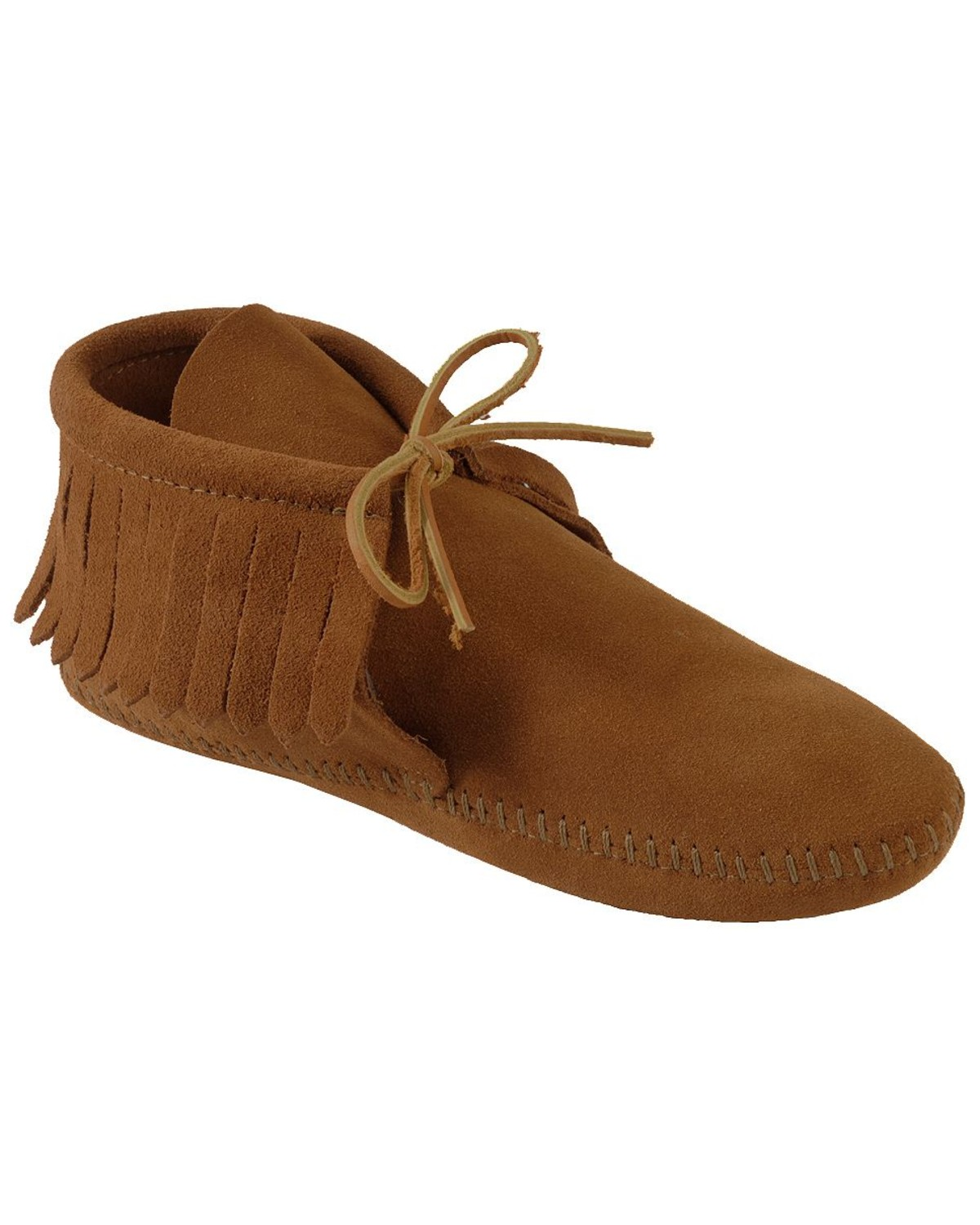 Minnetonka suede leather knee high tall lace up moccasin fringe boots - Minnetonka Fringed Soft Sole Moccasins Brown Hi Res