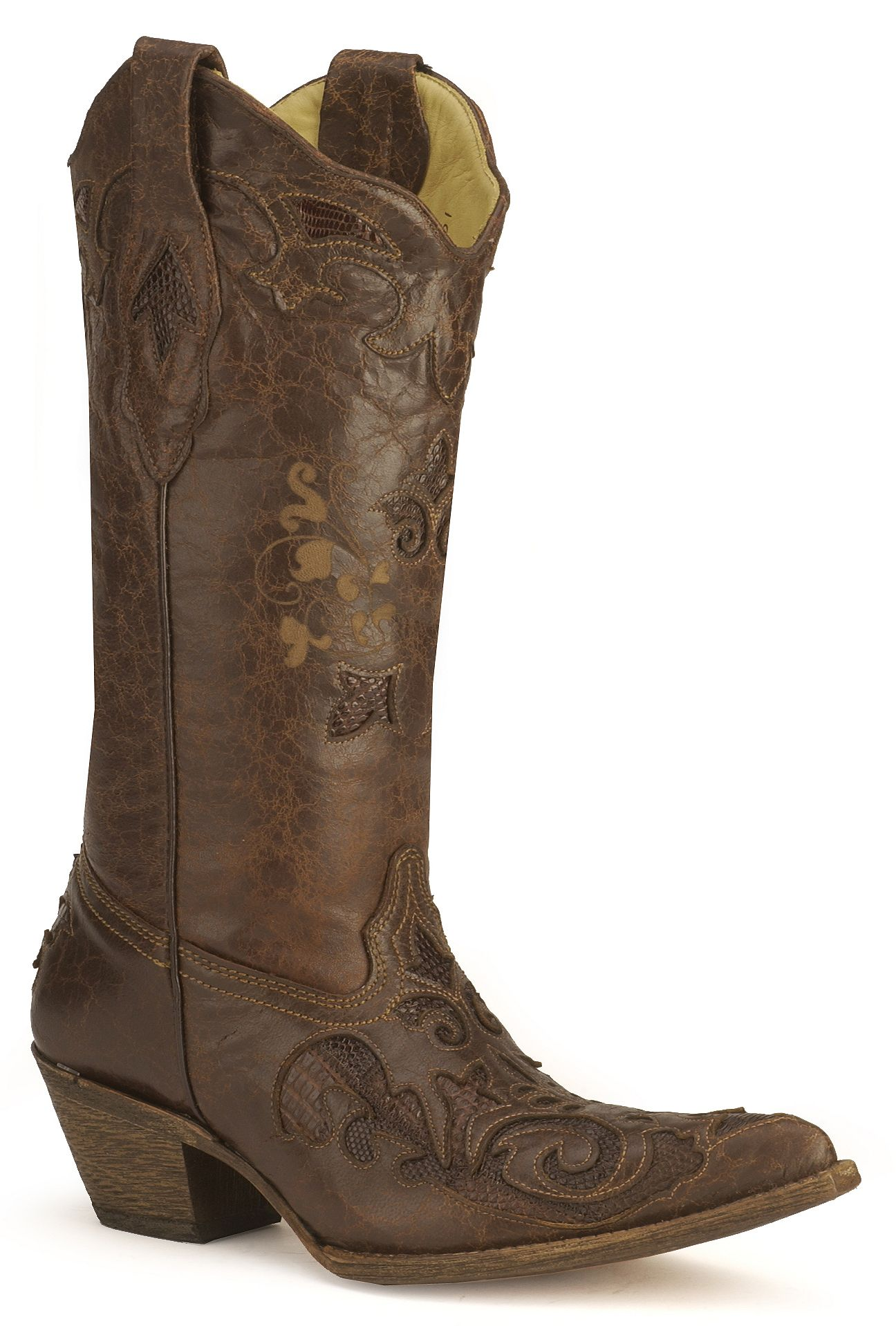 Corral Chocolate Lizard Inlay Western Cowgirl Boots - Pointed Toe ...