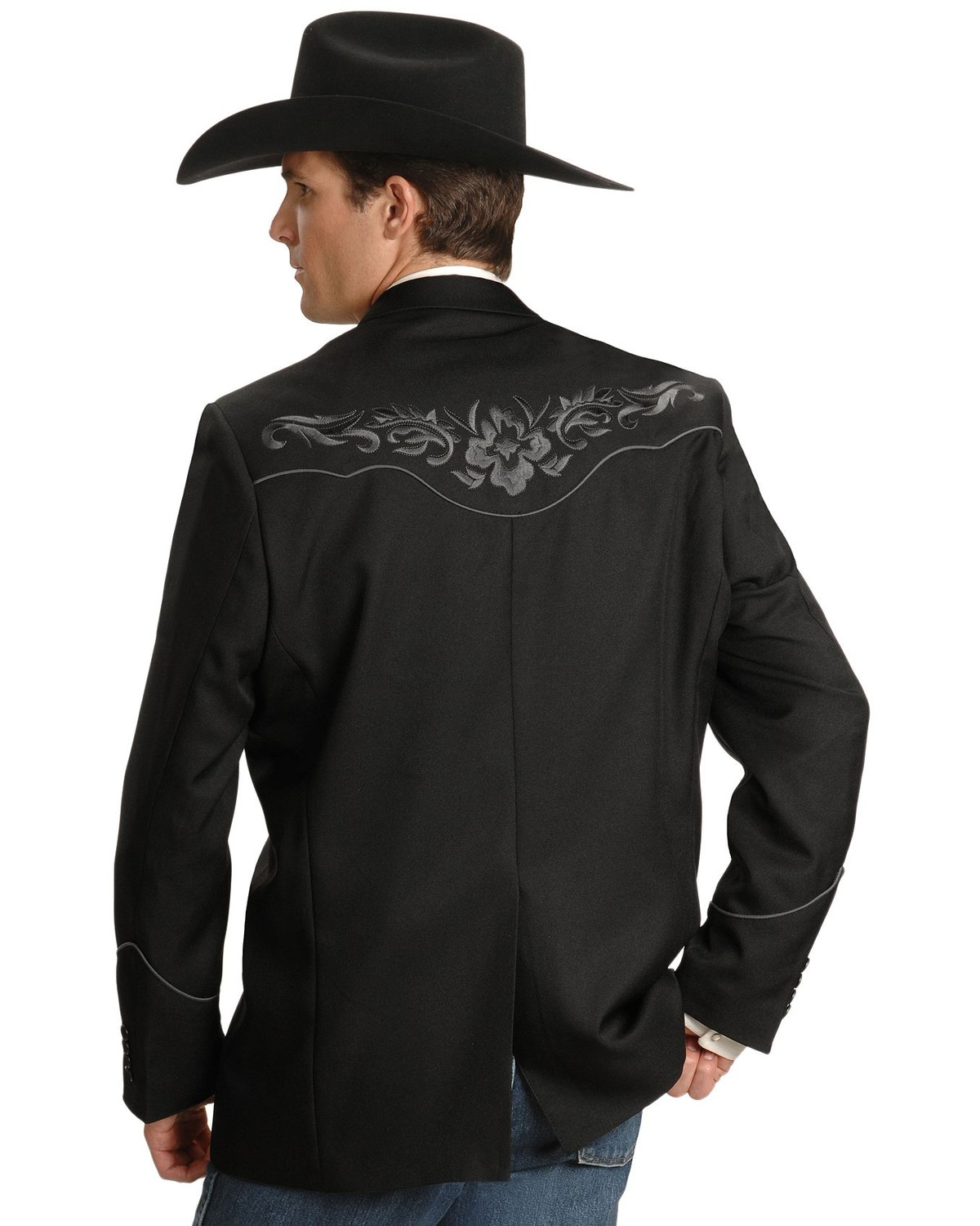 Scully Grey Floral Embroidery Black Western Jacket Sheplers