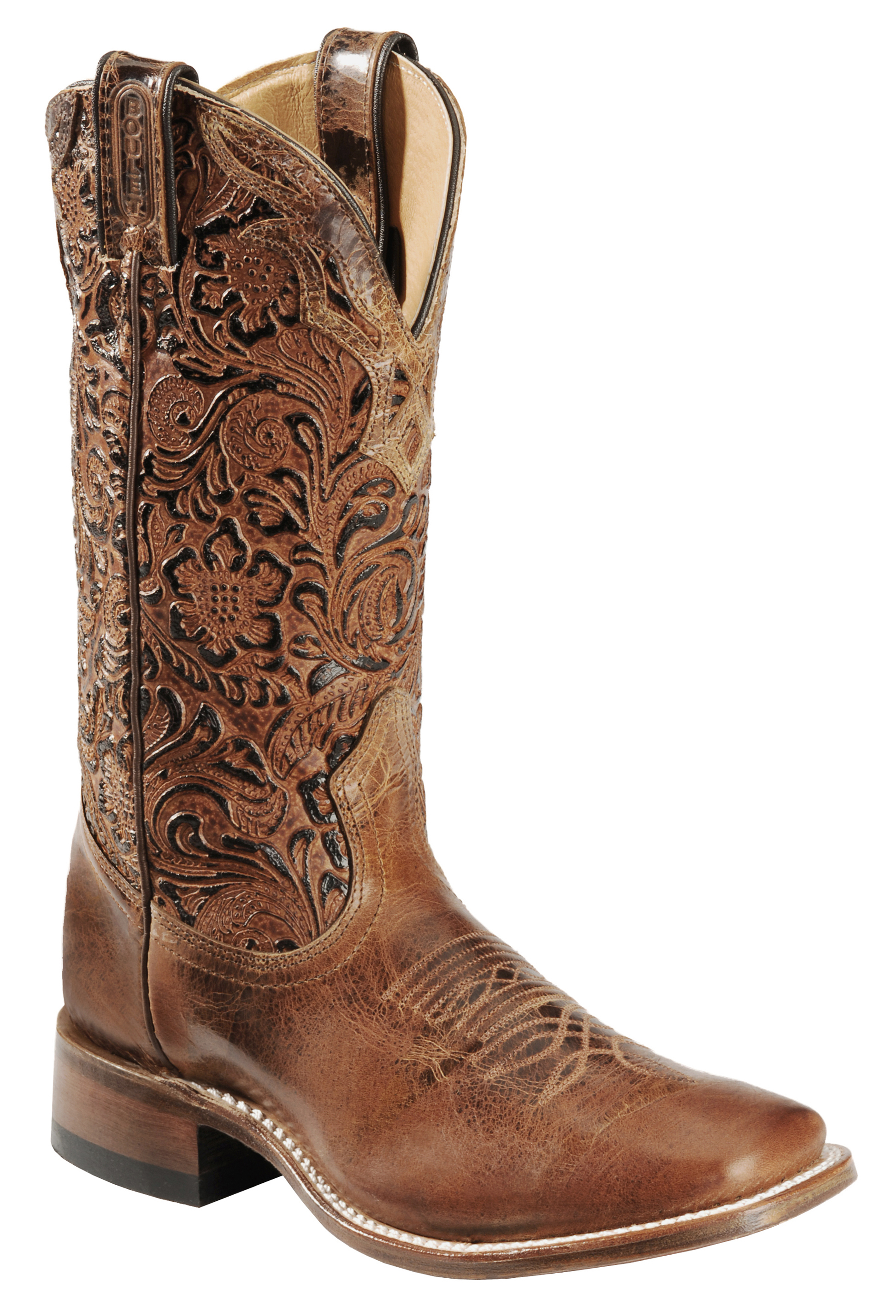 Boulet Hand Tooled Calf Cowgirl Boots Square Toe Sheplers