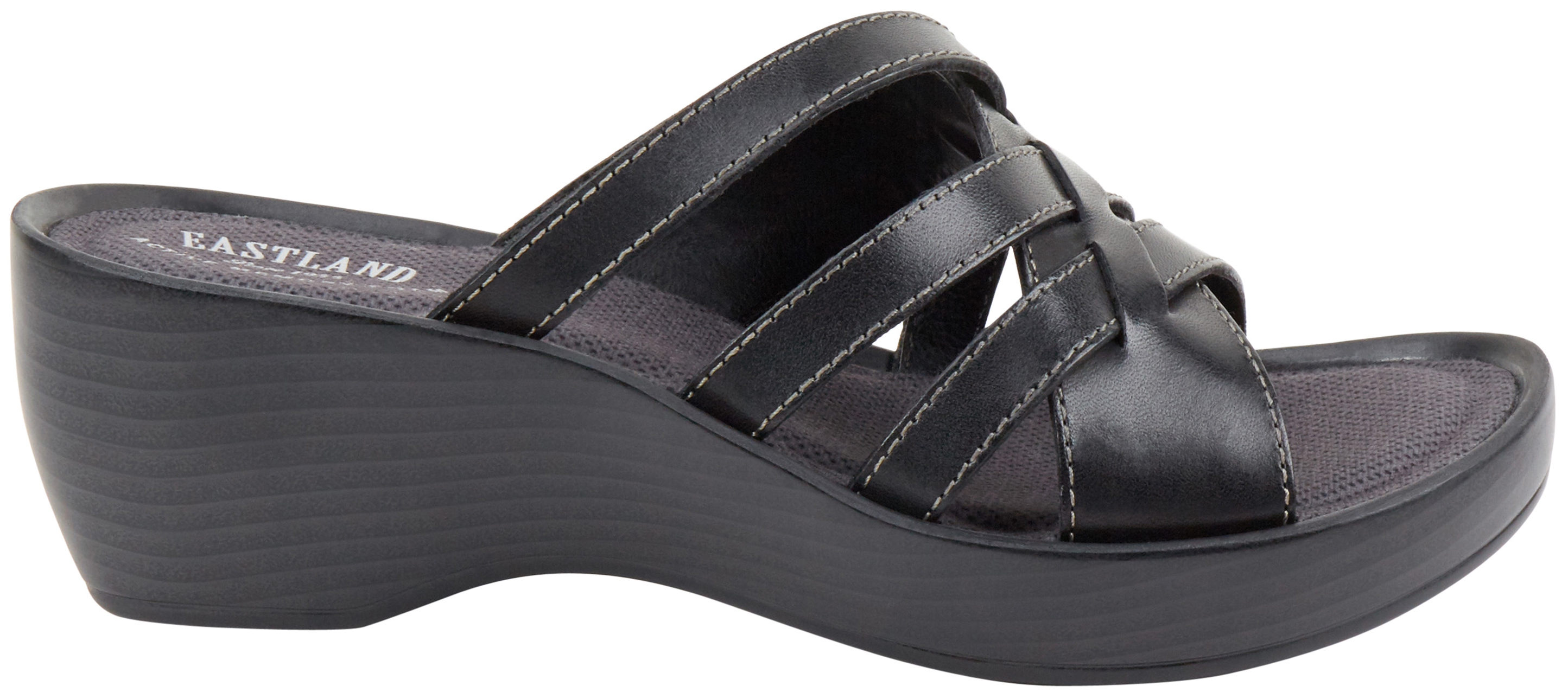 Black poppy sandals - Eastland Women S Black Poppy Wedge Sandals Black Hi Res