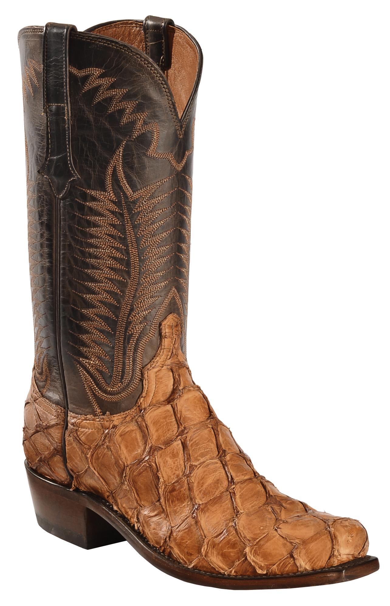 Lucchese Handmade Cognac Murphy Pirarucu Cowboy Boots