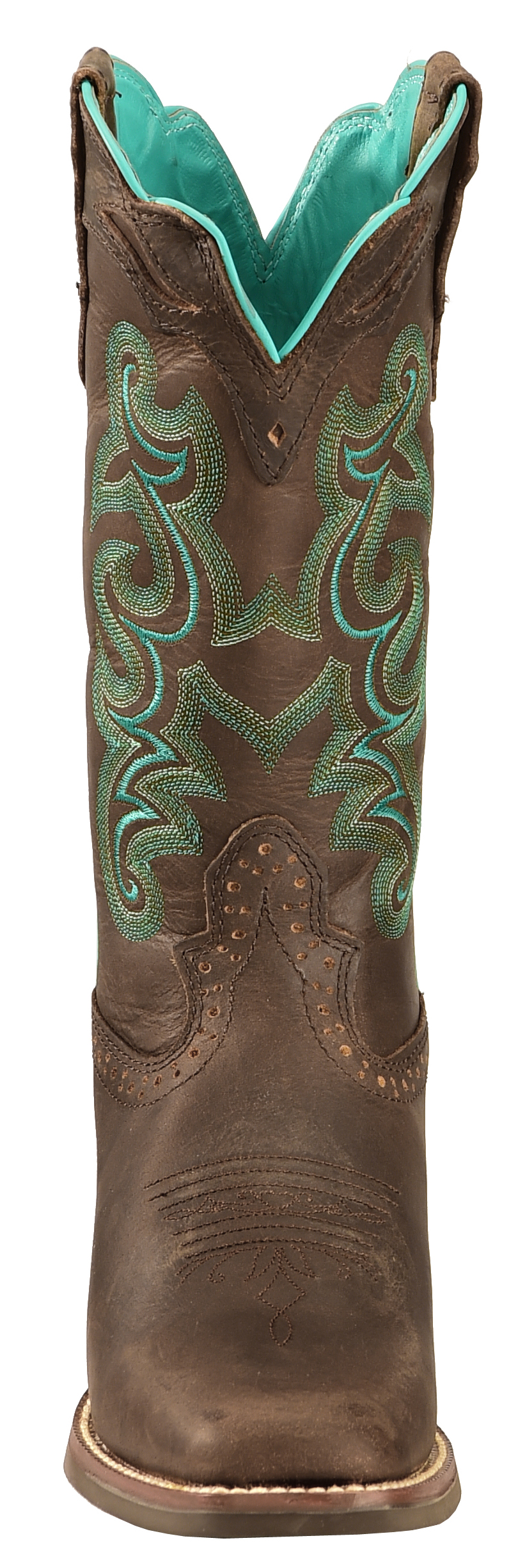 Justin Silver Turquoise Stitched Cowgirl Boots - Square Toe | Sheplers