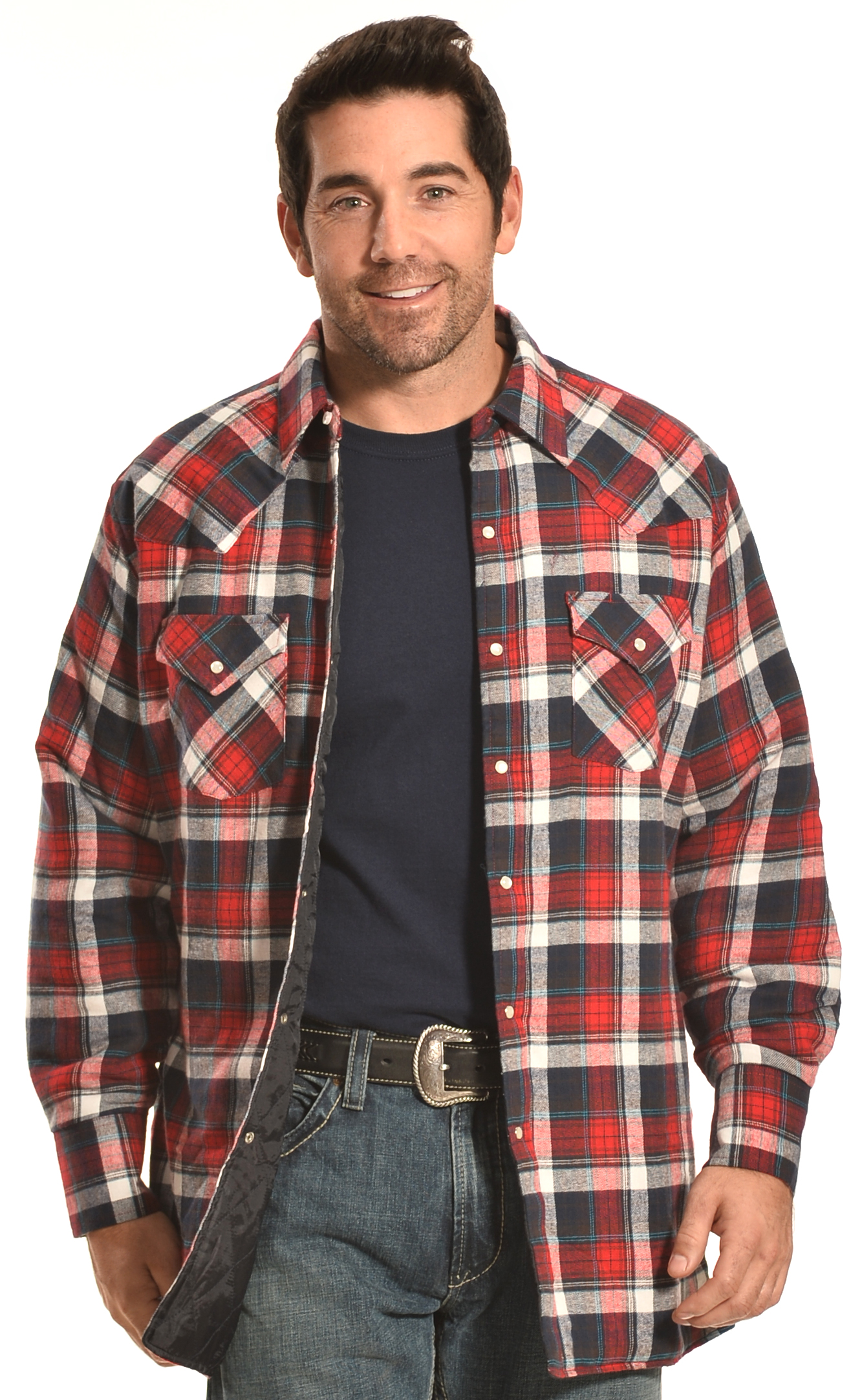 Ely cattleman men 39 s red plaid quilted flannel jacket shirt for Flannel shirt and vest