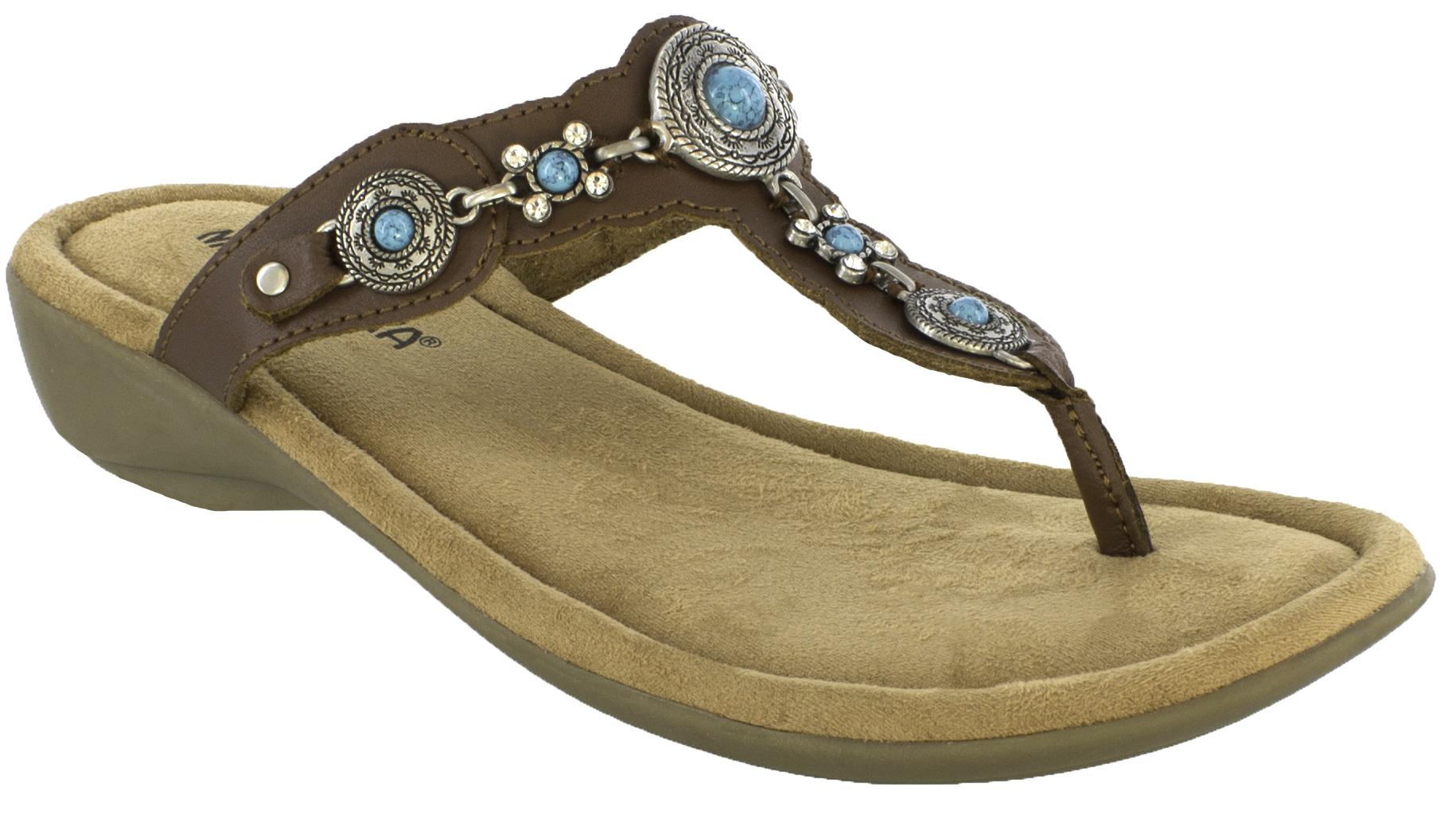 Women's sandals with bling - Minnetonka Womens Boca Thong Iii Sandals Dark Brown Hi Res