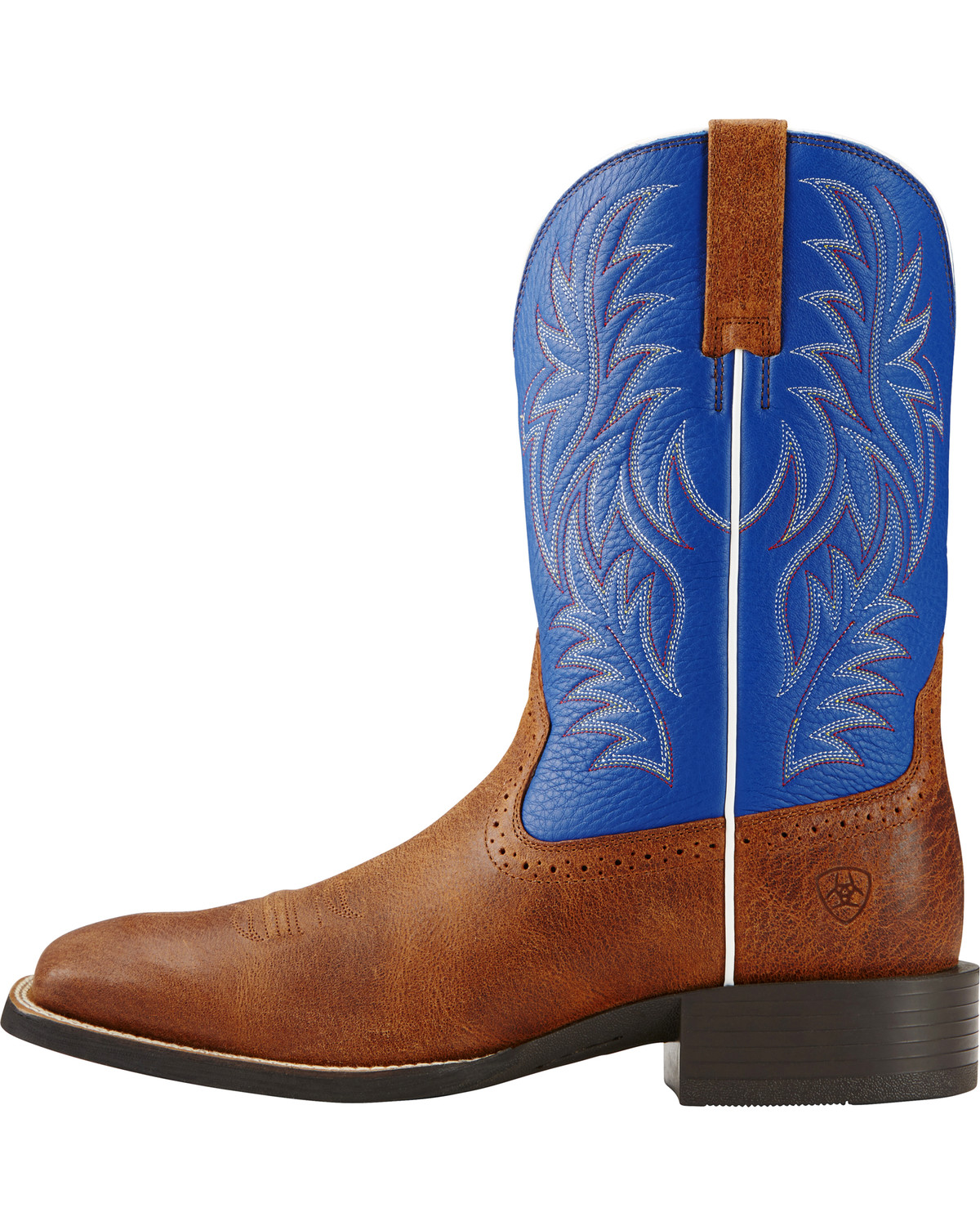 ariat sport western blue and brown cowboy boots square