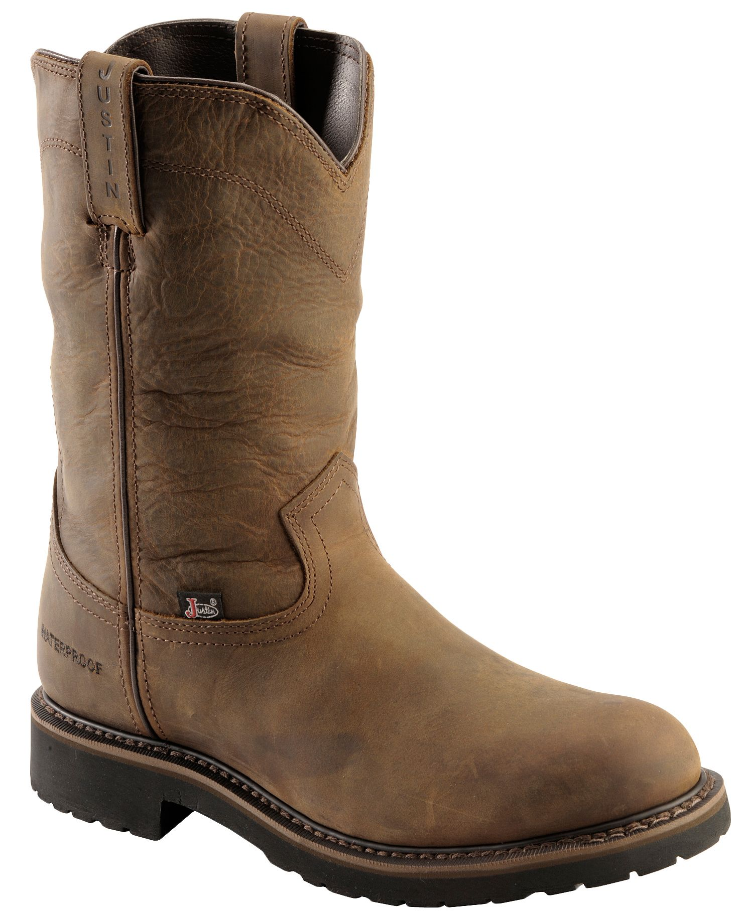 Justin Wyoming Waterproof Pull On Work Boots Round Toe