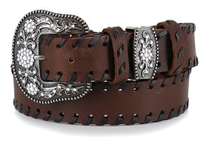 Shyanne Women's Brown Lace Stitched Belt, Brown, hi-res