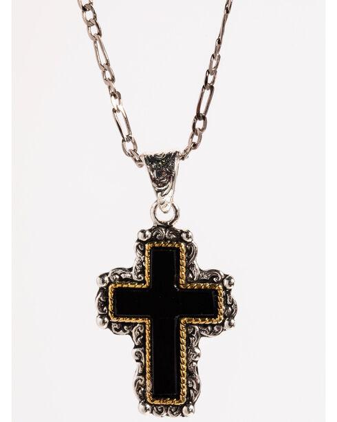 Silver Strike Women's Black Cross Necklace , Silver, hi-res