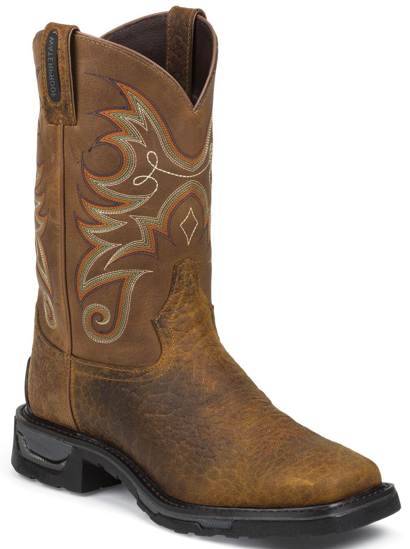 Tony Lama Sierra Badlands TLX Western Waterproof Work Boots - Square Toe, Brown, hi-res