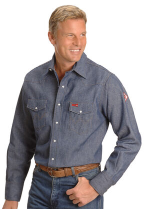 Wrangler Flame Resistant Work Western Shirt, Denim, hi-res