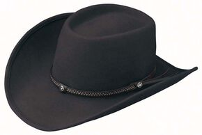Outback Trading Co. Durango Oval Crown Crushable Australian Wool Hat, Black, hi-res
