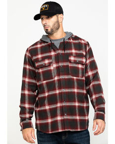 Hawx Men's Red Plaid Hooded Flannel Shirt Work Jacket , Red, hi-res