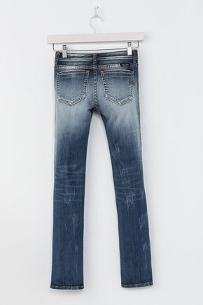 Miss Me Girls' Indigo Plain Distressed Jeans - Skinny , Indigo, hi-res