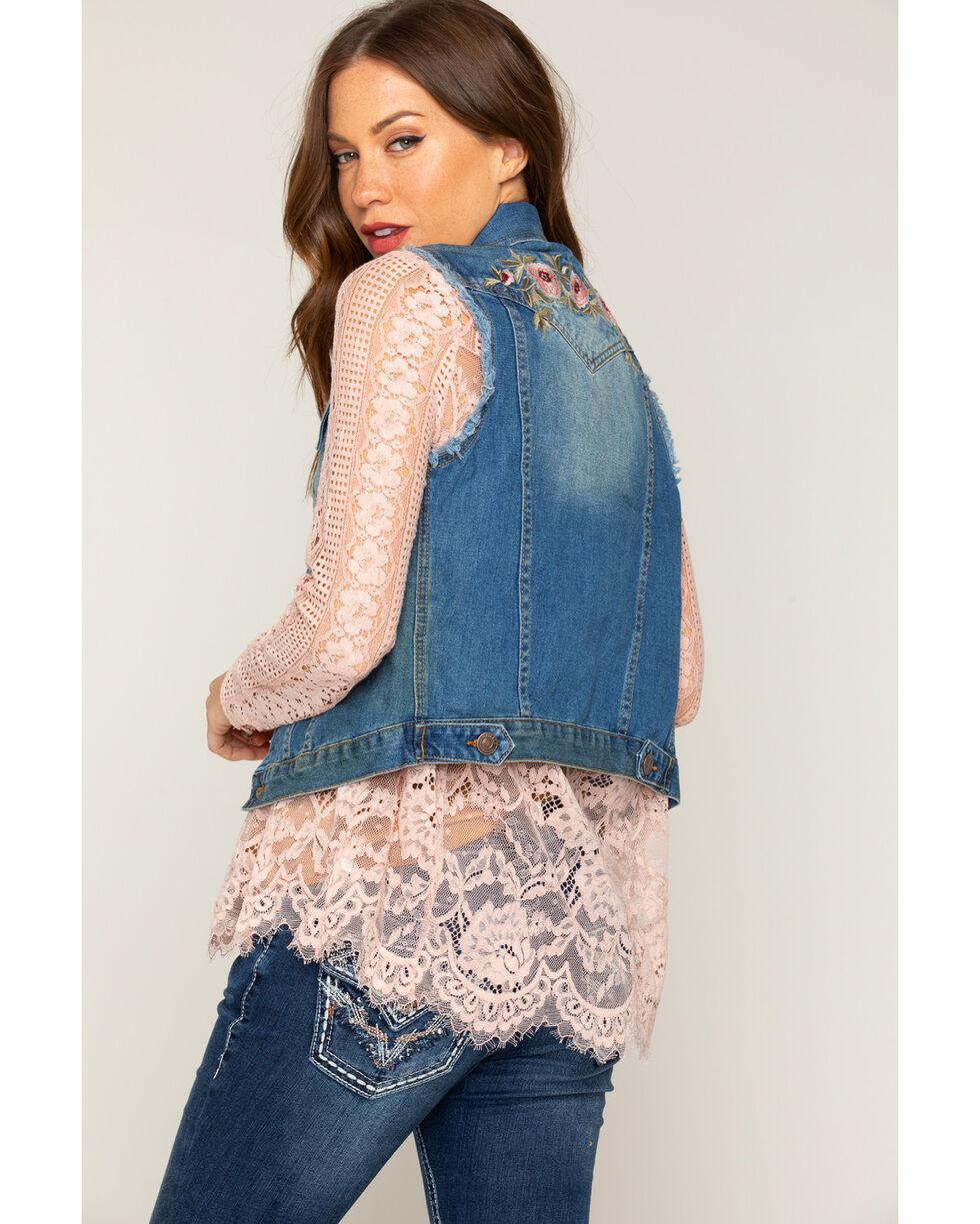 Shyanne Women's Embroidered Denim Vest, Blue, hi-res