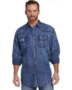 Cowboy Up Men's Vintage Wash Denim Snap Shirt , Indigo, hi-res