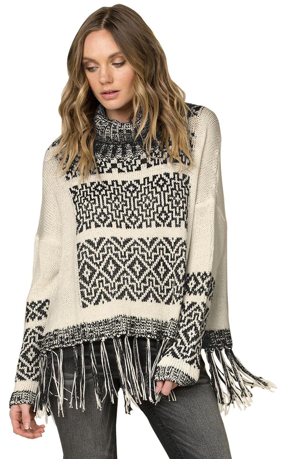 Miss Me Women's Fringe Trimmed Turtleneck Sweater, , hi-res