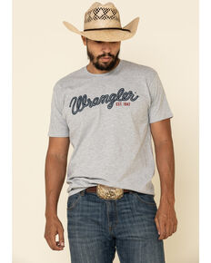 Wrangler Men's Grey Rope Logo Graphic Short Sleeve T-Shirt , Grey, hi-res