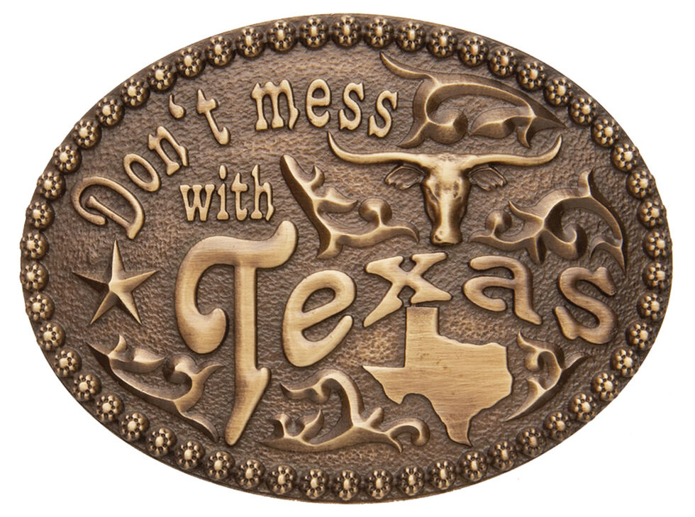 AndWest Men's Don't Mess With Texas Belt Buckle, Brass, hi-res